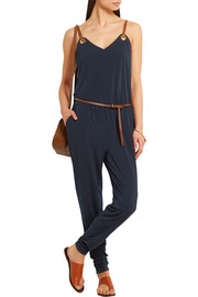Faux leather-trimmed satin-jersey jumpsuit