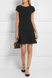 Pleated crepe-trimmed stretch-jersey dress