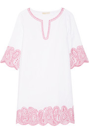 Broderie anglaise linen mini dress