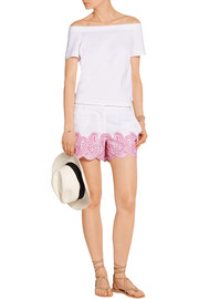 Broderie anglaise linen shorts