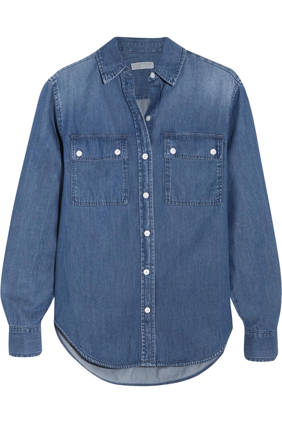 Camp Denim Shirt, Michael Michael Kors, Dark Denim, Women's, Size: XS