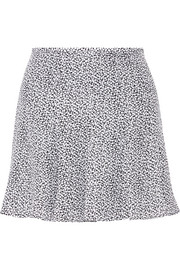 Printed silk-crepe mini skirt