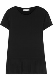 Pleated crepe-trimmed stretch-jersey T-shirt