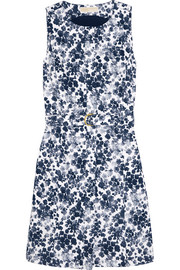 Belted floral-print stretch-cotton mini dress