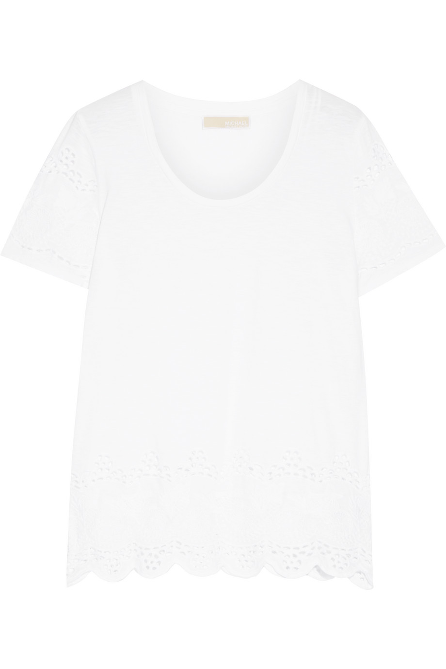 Broderie Anglaise Cotton Top, Michael Michael Kors, White, Women's, Size: S