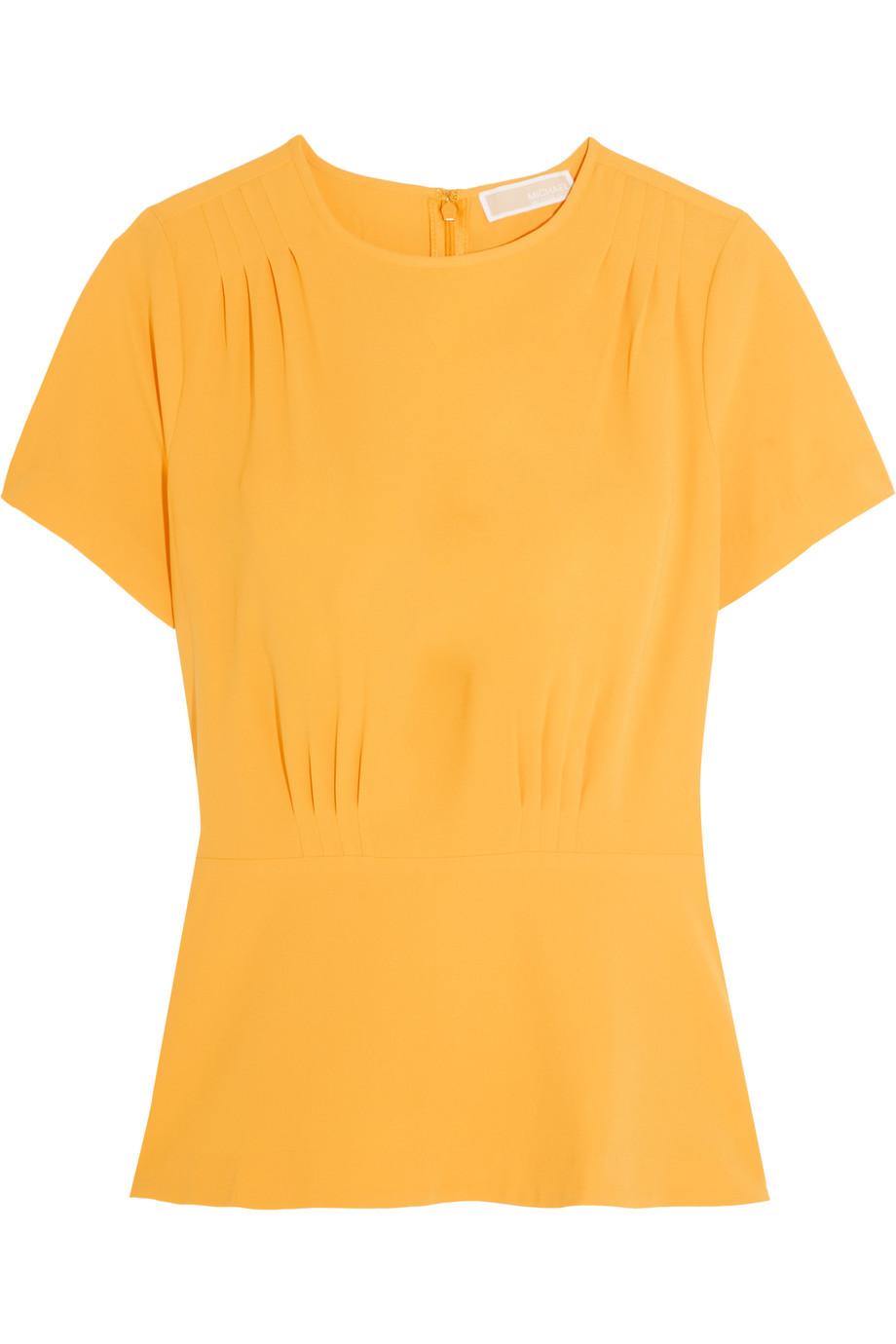 Pleated Stretch-Crepe Top, Michael Michael Kors, Saffron, Women's, Size: 00
