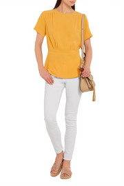 Pleated stretch-crepe top
