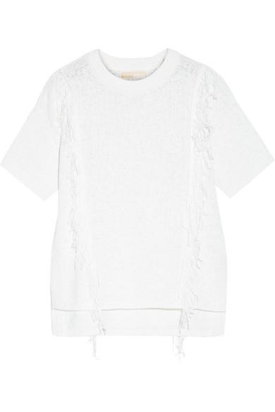 MICHAEL MICHAEL KORS Fringed cotton-blend sweater