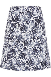 Floral-print stretch-cotton skirt