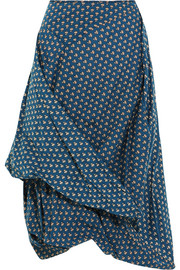 Draped floral-print cotton-poplin skirt