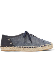 Leather-trimmed denim espadrilles