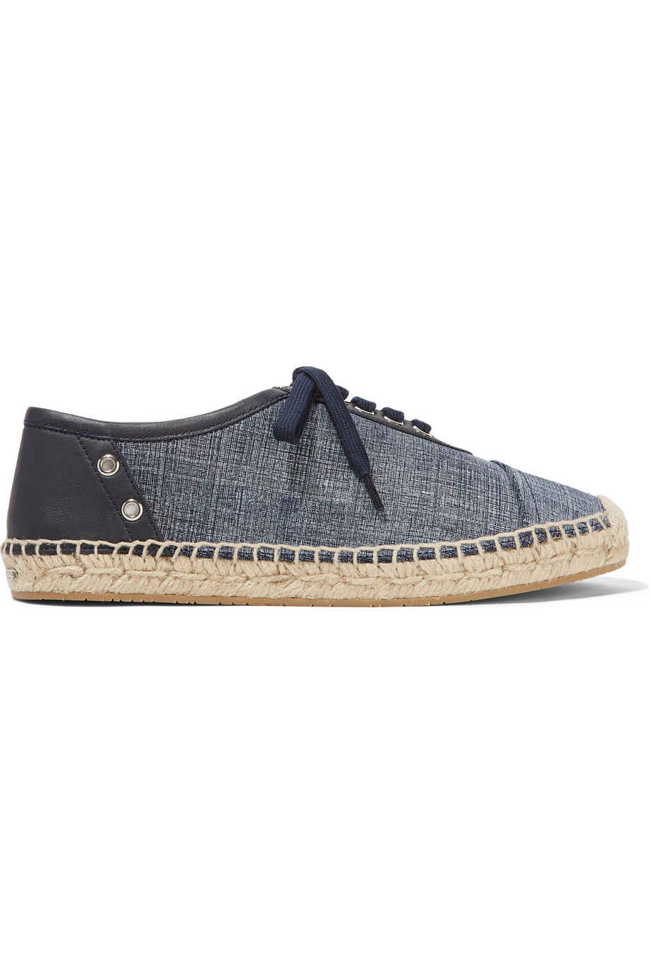 Jimmy Choo Leather-Trimmed Denim Espadrilles, Mid Denim, Women's US Size: 6, Size: 36.5