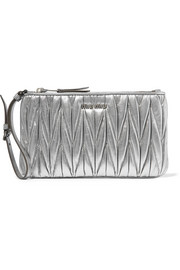 Metallic matelassé leather pouch