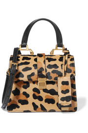 Madras mini leopard-print calf hair and textured-leather shoulder bag