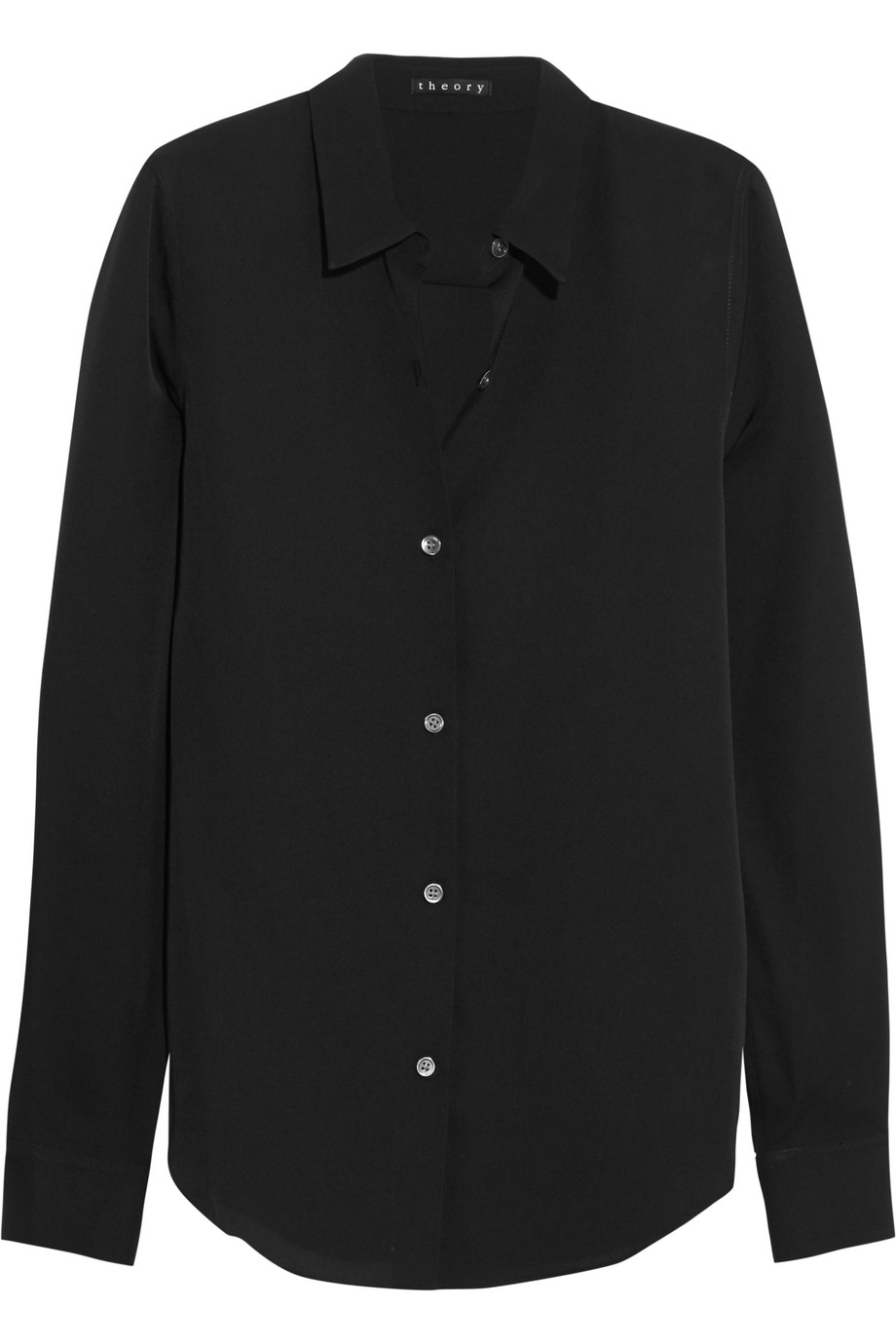 Theory Tenia Silk-Crepe Shirt, Black, Women's