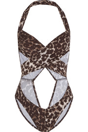 Mio cutout cheetah-print swimsuit