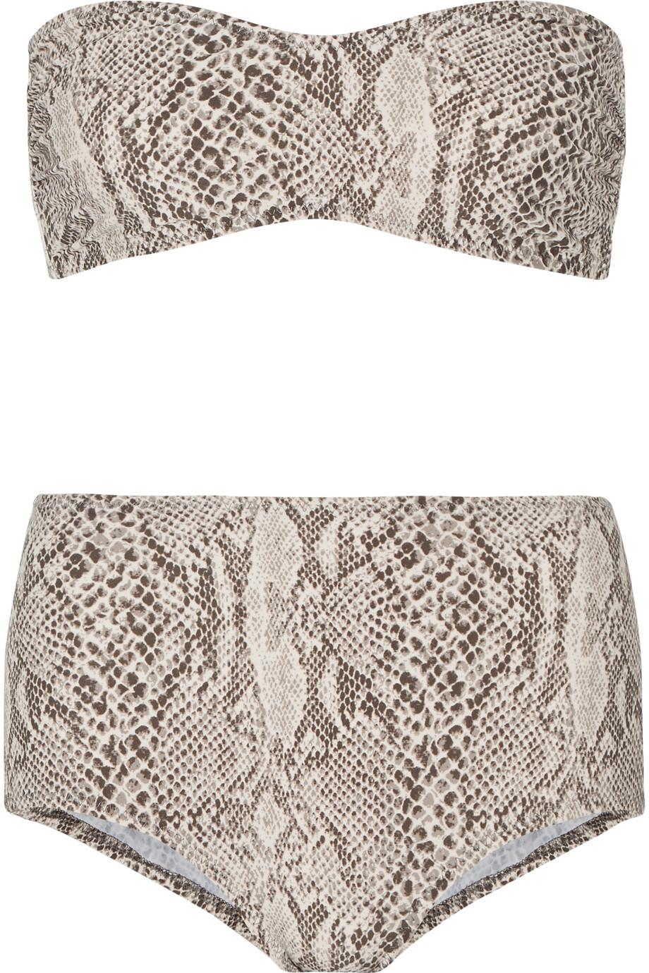 Norma Kamali Sunglass Snake-Print Bandeau Bikini, Snake Print/Beige, Women's, Size: M