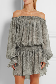 Norma Kamali Off-the-shoulder snake-print chiffon dress