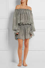 Off-the-shoulder snake-print chiffon dress