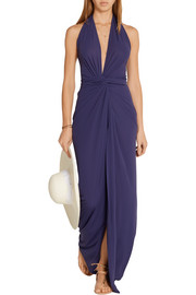 Convertible jersey halterneck wrap dress