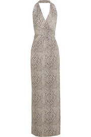 Snake-print stretch-jersey halterneck dress