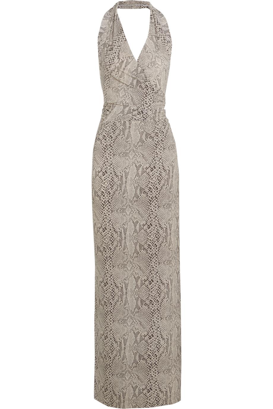 Norma Kamali Snake-Print Stretch-Jersey Halterneck Dress, Snake Print/Beige, Women's, Size: L