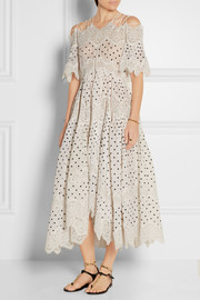 Zimmermann Empire Papier lace-paneled embroidered cotton dress