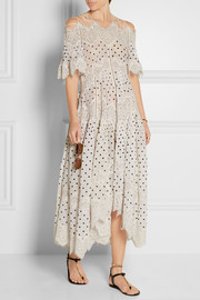 Empire Papier lace-paneled embroidered cotton dress