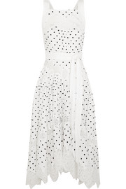 Empire Dot Apron embroidered linen dress