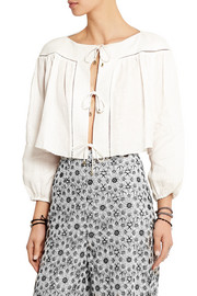 Zimmermann Empire Linear cropped linen blouse