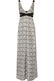 Printed silk-blend twill maxi dress