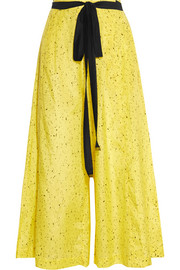 Printed cotton and silk-blend wide-leg pants