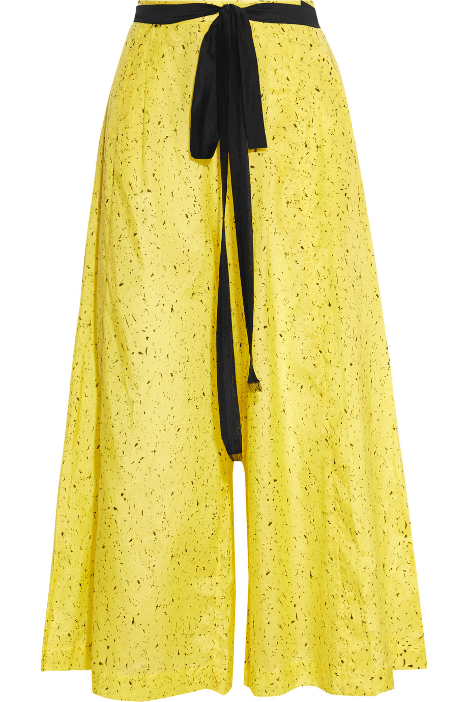 Proenza Schouler Printed Cotton and Silk-Blend Wide-Leg Pants, Pastel Yellow, Women's