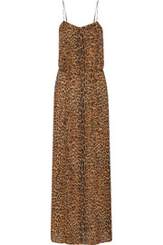 Leopard-print voile dress