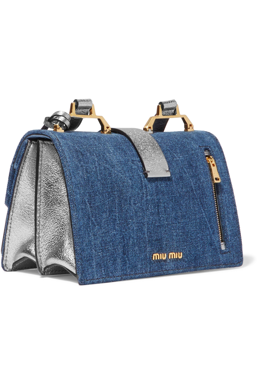 Miu Miu Madras denim and metallic textured-leather shoulder bag