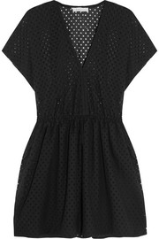 Genna broderie anglaise cotton-blend mini dress