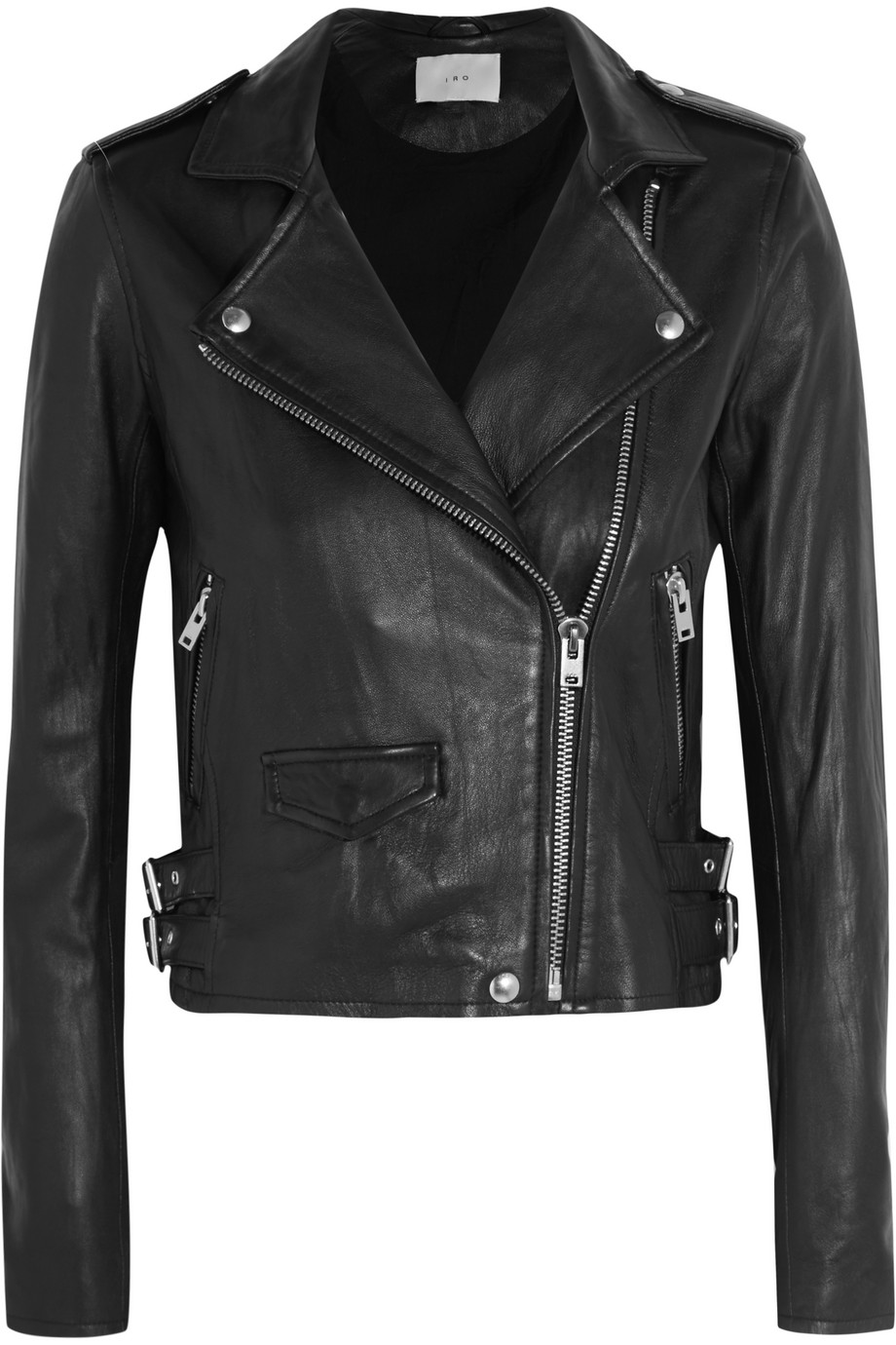 IRO Ashville Cropped Leather Biker Jacket, Black, Women's, Size: 40