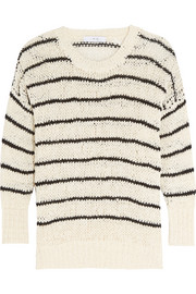 Odessa striped open-knit cotton-blend sweater