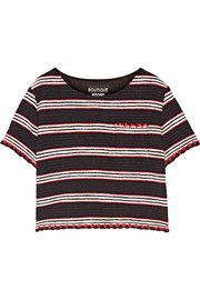 Boutique Moschino Striped cotton-blend tweed top