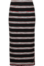 Striped stretch cotton-blend tweed skirt
