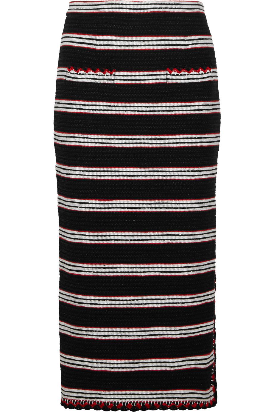 Striped Stretch Cotton-Blend Tweed Skirt, Black, Women's, Size: 38