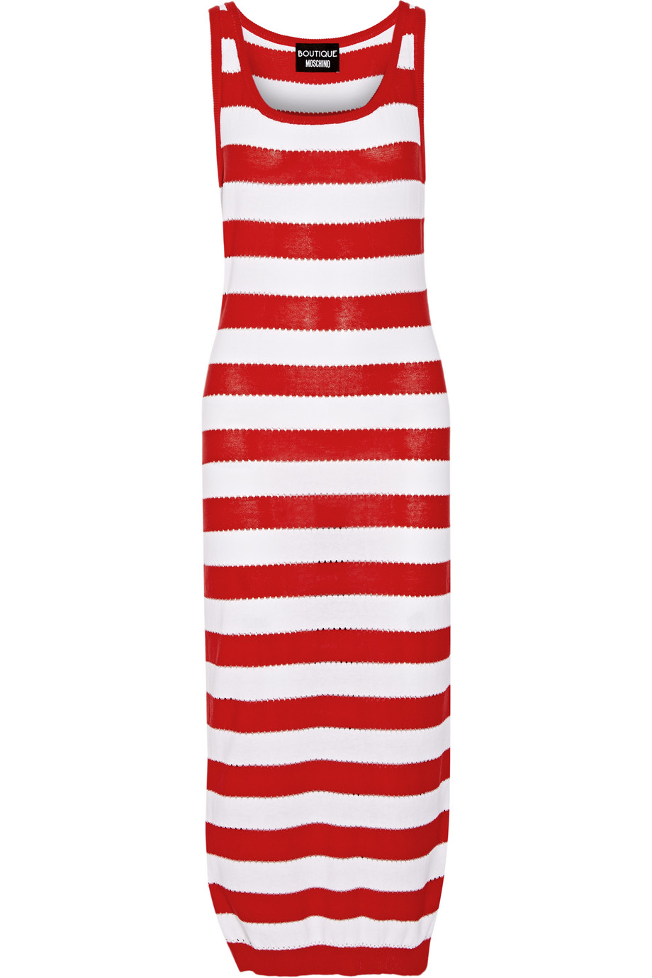 Striped Pointelle-Knit Cotton Midi Dress, Red, Women's, Size: 40