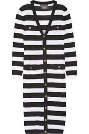 Boutique Moschino Striped open-knit cotton cardigan