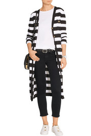 Striped open-knit cotton cardigan
