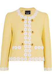 Boutique Moschino Appliquéd honeycomb-knit jacket