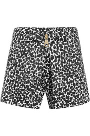 Leopard-print cotton-blend poplin shorts