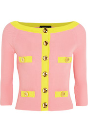 Boutique Moschino Two-tone ribbed cotton cardigan