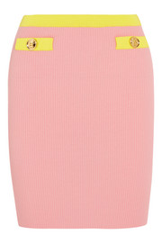 Boutique Moschino Two-tone ribbed cotton mini skirt