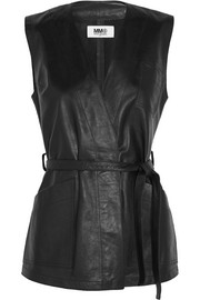 Belted wrap-effect leather vest
