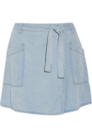 Denim wrap mini skirt